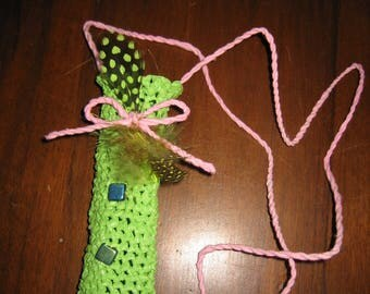 Handmade with plastic bags [a] tricoplastoc crocheted case for E cigarette round lime/pink or purple/feathers