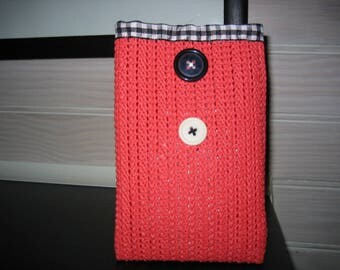Red recycled rubber black/white gingham iphone case or sunglasses case