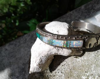 Sunni Artisan Handmade Solid Sterling Silver Lab Opals and Malachite Inlay Bear Spirit! Cuff Bracelet Great Spirit Gift