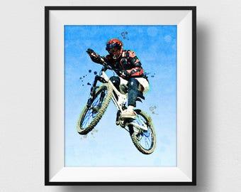 Mountain Bike Art, Mountain Bike Print, Mountain Biker Gift, Watercolour Prints, Sport Prints, Kids Wall Art Decor, Mountain Biker (N328)