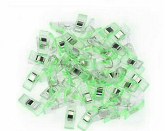 Set of 50 clips plastic green fabric