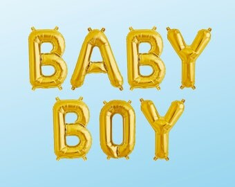"BABY BOY Letter Balloons | 16"" Gold Letter Balloons 