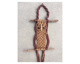Large Dark Light Brown Cream Owl Macrame Plant Hanger With Tassels Vintage  Retro Flower Pot Hangers