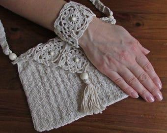 Boho Style Crochet Bag, Shoulder or Cross Body Handmade Crochet Handbag, Beautiful Small Cotton Bag, Handmade Beige Bag, Unique Shoulder Bag