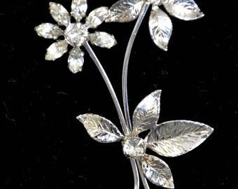 Antique Sterling Brooch flower rhinestones by Leo Glo