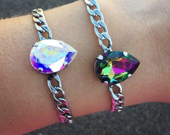 PERFECT PEAR Swarovski crystal 18x13mm single stone bracelet in antique silver - comes in a variety of colors