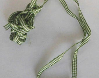 Ribbon appearance gingham green and white - 6mm - sold by 50cm width