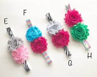 Flower Shabby Elastic Headbands one size fits most (infants to tween)/back to school/zebra stripes/pink/rainbow