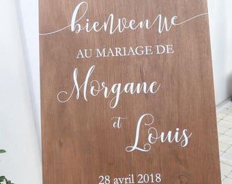 Panneau en bois peint pour mariage . Panneau personnalisable pour mariage. Pancarte mariage
