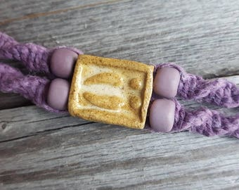Lavender Hemp bracelet artisan macrame handcrafted ceramic Moose Track focal purple vintage crow beads boho jewelry
