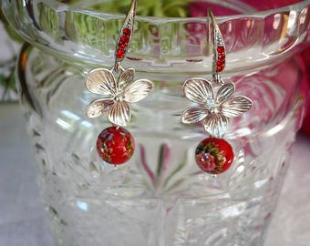 Rhodium plated Silver earrings and tensha beads