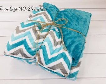 Twin Chevron Minky Weighted Blanket for Adult (40in x 85in) - Choose Your Weight - Choose Your Colors - Adult Weighted Blanket