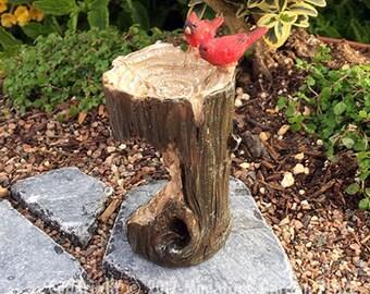 Cardinals on Stump Birdbath - miniature enchanted fairy garden