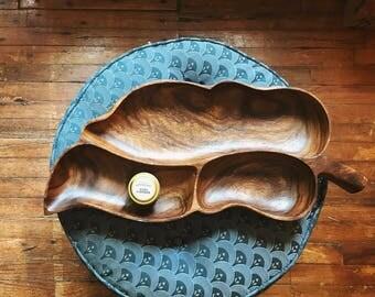 Vintage Teak Leaf Shaped Tray
