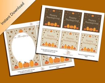 Happy Thanksgiving Printable Pack, Pumpkin Patch, Fall Season, I'm Thankful Cards, Mini Thank You Cards, Thankful Cards, Scrapbook Cards,DIY