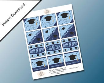 Blue Color Rectangle Graduation Printable Gift Tags, Hats off to the Graduate, Blue School Colors, Graduation Party Favors, Class of 2018