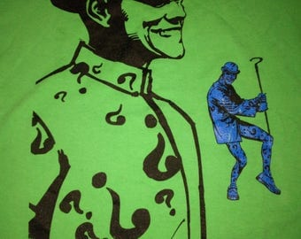 Vintage 90s DC Comics THE RIDDLER green comic batman t-shirt size Medium