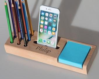 Stationary desk organizer,Desk organiser,Valet tray,Office organizer,Docking station,Gift for him,Gift for her,Personalized gift ideas