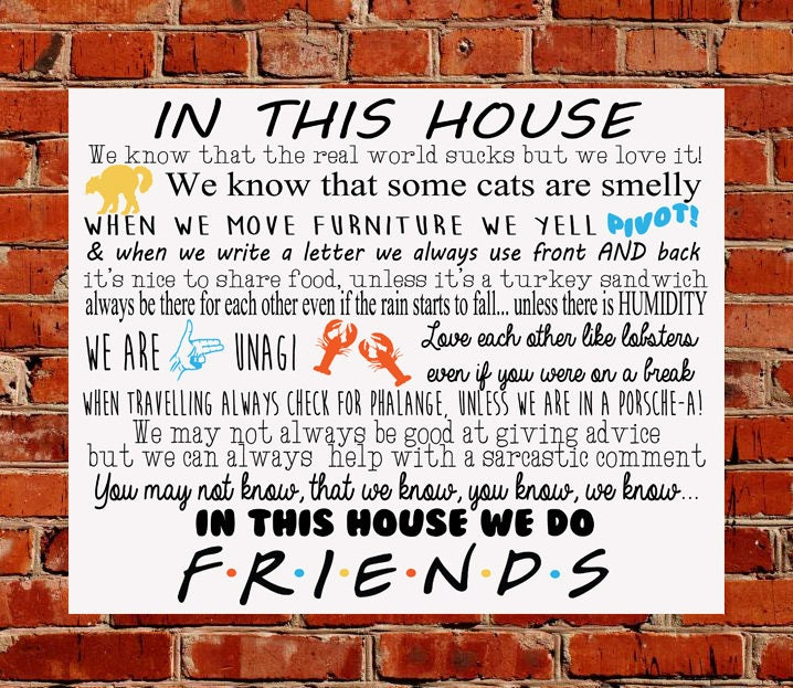 Friends TV Show House Rules METAL SIGN Birthday Gift Ross