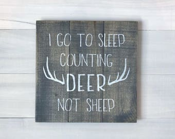 Baby Boy Pallet Sign, Deer Nursery Decor, Counting Deer Not Sheep Wood Sign, Buck Pallet Art, Boy Gallery Wall, Rustic Nursery Decor