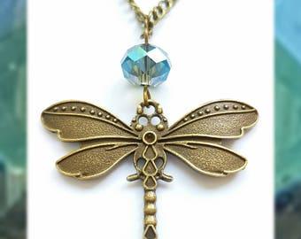 Antique Bronze Dragonfly & Turquoise Swarovski Crystal Necklace