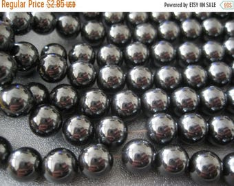 ON SALE 15% OFF Hematite Magnetic Round Beads 8mm 52pcs