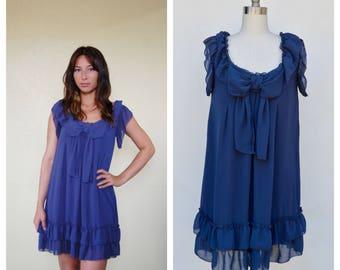 navy blue RUFFLE BOW dress / small to medium