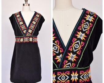 deep V embroidered boho dress / medium to large