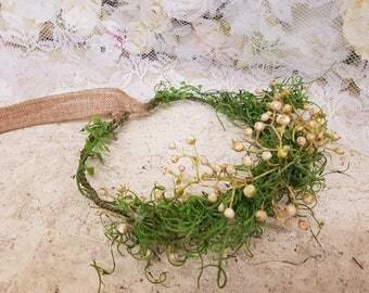 Rustic, boho, moss, flower crown