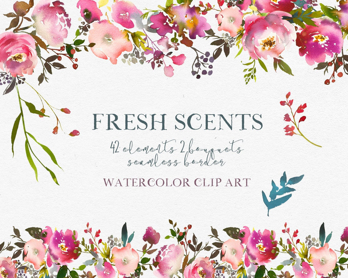 Pink Peach Flowers Peonies Roses Watercolor Clipart