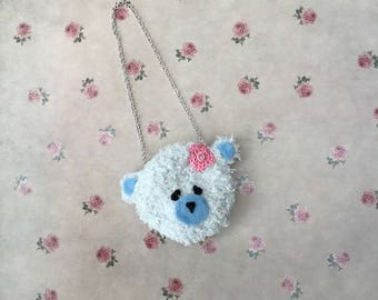 Blythe Doll Bag/purse  - handmade crocheted teddy bear bag for your Blythe doll. Teddy bear bag/purse