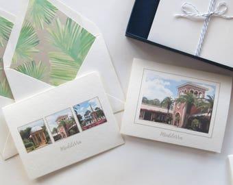 "Florida Community Stationery ""Mediterra"" Foldover Greeting Cards - 4 Pack"