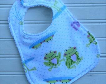 Bib - Baby Bib - Happy Frogs - Gender Neutral Bib - Shower Gift for Baby Boy or Girl