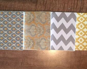 Gold/gray ceramic tile coaster set