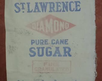 Vintage cotton St. Lawrence Diamond pure cane sugar St. Lawrence Sugar Refineries Ltd. Montreal Canada sugar bag/sack.