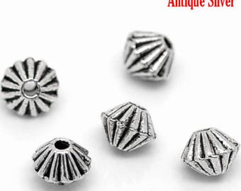 Set of 10 round BICONE 4x4mm antiqued silver BICONE beads