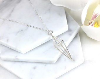 Silver Open Diamond Necklace, Sterling Silver, Diamond Necklace, Spike Necklace, Layering, Everyday, Geometric Necklace, Gift