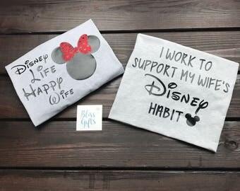 Disney Wife | Disney Wife Happy Life | Disney Couple Shirts | Disney Matching Shirts | Wife Disney Shirt | Disney Wedding Shirt | Disney Tee