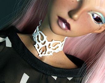 BJD any size (YoSD, MSD, SD+) 3D printed Choker, Crown or Face Mask. White or Black