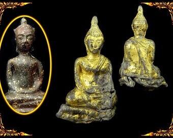 Antique Buddha Statue Phra Chai Wat Protection Thai Amulet, Buddhist Alter Statue #11406