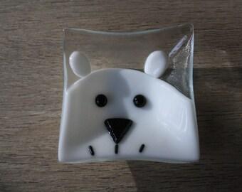 Ring Dish - Fused Glass Polar Bear