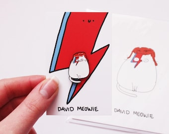 David Meowie Enamel Pin // enamel pin - pin badge - enamel jewellery - cat pin - david bowie pin - stocking filler - secret santa