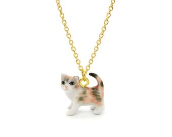 Tiny Calico Cat Charm Necklace, Hand Sculpted/Painted Figurine, Ceramic Animal Pendant & Chain ()