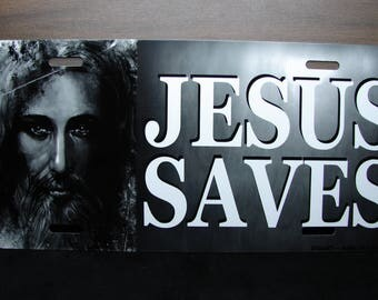 JESUS SAVES Metal Novelty License Plate For Cars Christian RELIGIOUS
