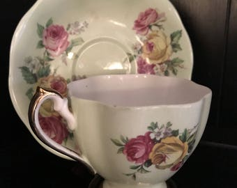 Antique Queen Anne Manor Roses Bone China Teacup England Vintage
