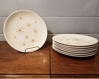 """Reserved for K Snyder - 8 Royal China Star Glow Dinner Plates, @ cereal & veggie bowl Ironstone 10"""" Atomic Age"""