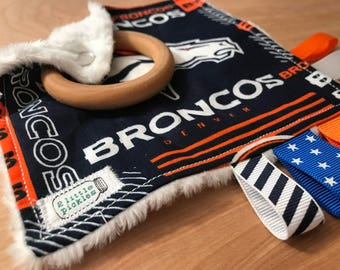 """5"""" Taggie Toy with 2"""" Wood Teether - Broncos"""