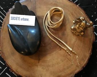 Leather choker necklace- Double wrap choker -Brown Leather Choker- Boho / Minimalist / Cool Jewelry By Societe Urbane SU027