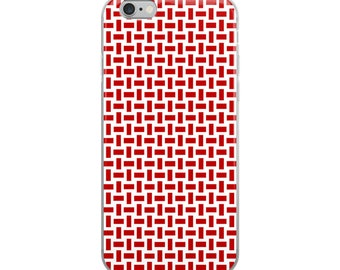 Red iPhone case, exciting cross-hatch woven pattern design