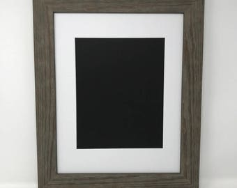 "22x28 1.75"" Rustic Grey Solid Wood Picture Frame with White Mat Cut for 18x24 Picture"
